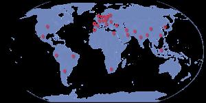Mapa Mundo Clientes e Fornecedores Vieira & Quádrios